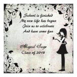 "Silhouette Girl with Butterfly Graduation Invite 5.25"" Square Invitation Card"