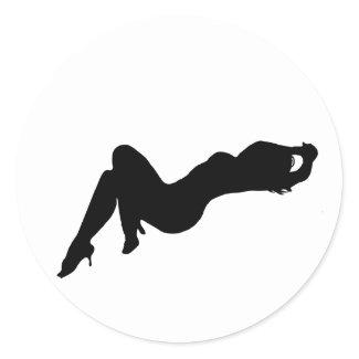 Silhouette Girls Round Stickers