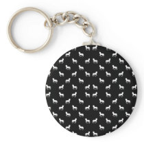 Silhouette Graphic Horses Pattern Keychain