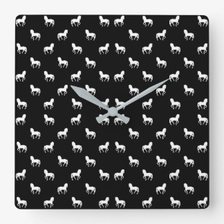 Silhouette Graphic Horses Pattern Square Wall Clock