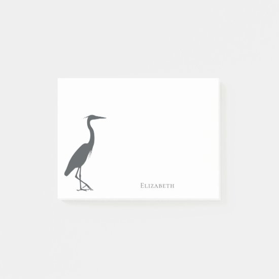 silhouette Great Blue Heron Egret personalized Post-it Notes
