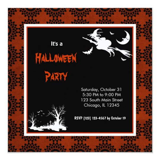 Silhouette Halloween Party Card