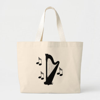 Silhouette Harp Music Gift Large Tote Bag