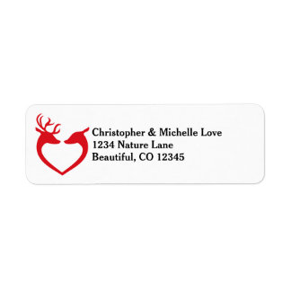 Silhouette Heart Deer Couple Red and Black Address Label