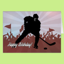 Silhouette Hockey Player for Birthday Card