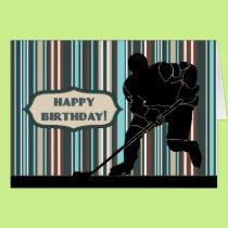 Silhouette Hockey Player Happy Birthday Card