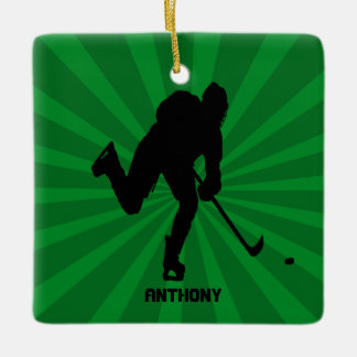 Silhouette Hockey With Green Christmas Ornament