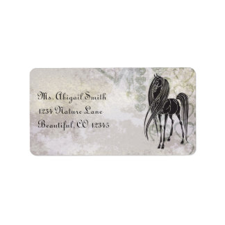 Silhouette Horse and Grunge Hearts Address Label