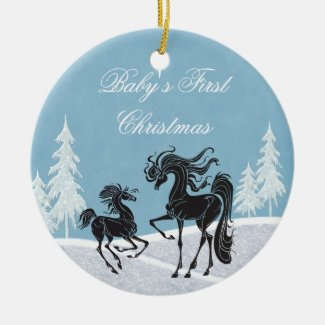 Silhouette Horse Baby's 1st Christmas Ornament