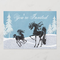 Silhouette Horse Winter Baby Shower Invitation