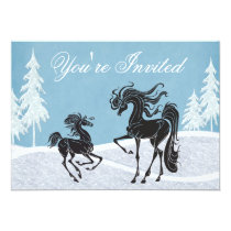 Silhouette Horse Winter Baby Shower Invitation