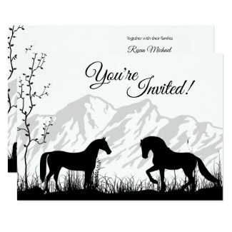 Silhouette Horses and Mountain Black White Wedding Invitation
