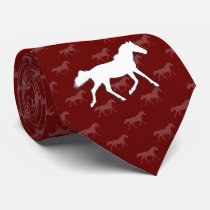 Silhouette Horses | Dark Red Neck Tie