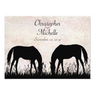 Silhouette Horses Grazing Horse Wedding Invitation
