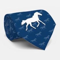 Silhouette Horses Pattern | Blue Neck Tie