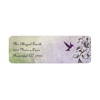 Silhouette Hummingbird and Flowers Address Label