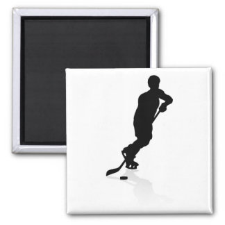 Silhouette Ice Hockey Player Magnet