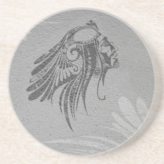Silhouette Indian Chief Gray Sandstone Coaster
