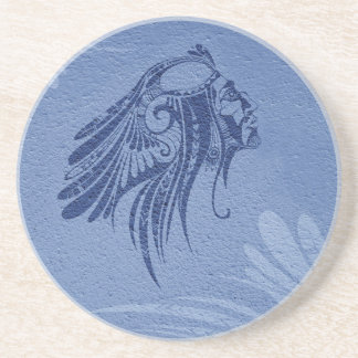 Silhouette Indian Chief Navy Sandstone Coaster