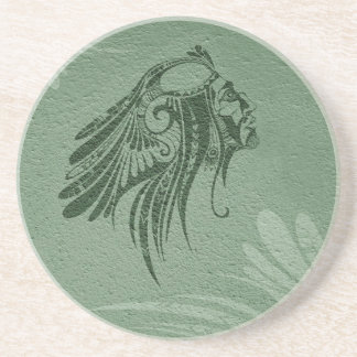 Silhouette Indian Chief Sage Sandstone Coaster