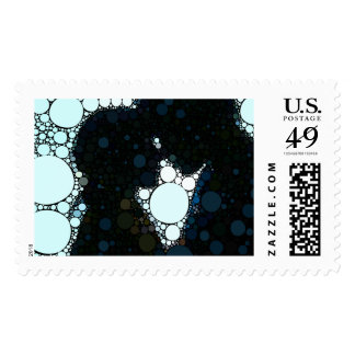Silhouette Kiss Modern Abstract Love Print Postage
