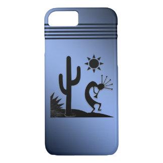 Silhouette Kokopelli on Blue iPhone 7 Case