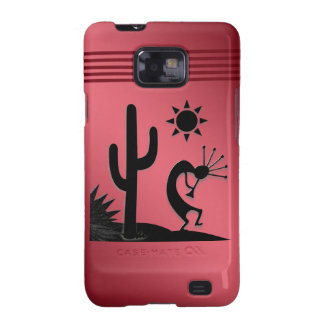 Silhouette Kokopelli on Red Galaxy S2 Covers