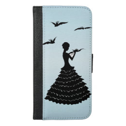 Silhouette Lady in Ruffled Dress Love Letter doves iPhone 6/6s Plus Wallet Case