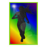 Silhouette Lady Rainbow Runner Poster