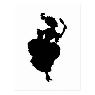 Silhouette Lady with Mirror  Postcard