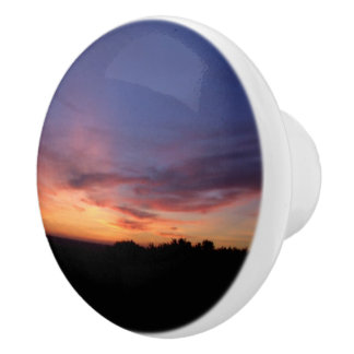 Silhouette Landscape Sunset Dresser Knob Ceramic Knob