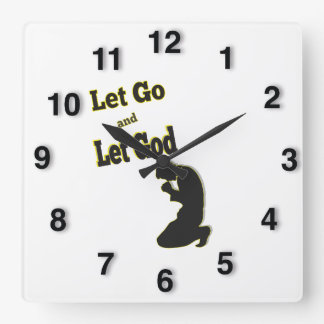 Silhouette Let Go Let God Praying Man Square Wall Clock