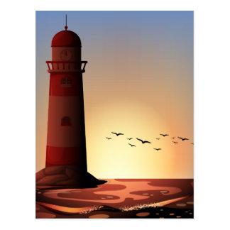 Silhouette lighthouse postcard