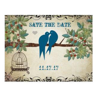 Silhouette Love Birds Bird Cage Tree Save the Date Postcard