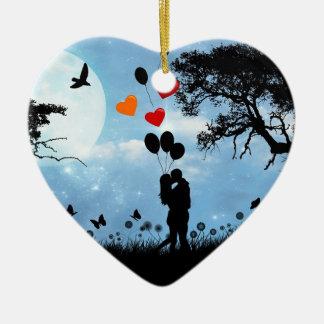 Silhouette Love Ceramic Ornament