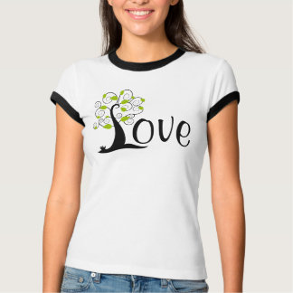 Silhouette LOVE Tree with Geen Leaves T-Shirt