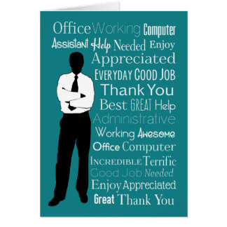 Silhouette Man with Typographic Words Card
