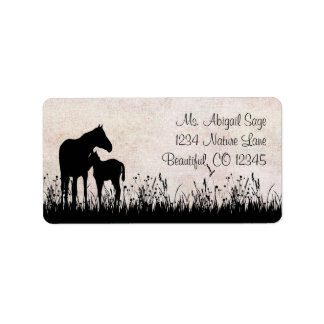 Silhouette Mare and Foal Horse Address Label