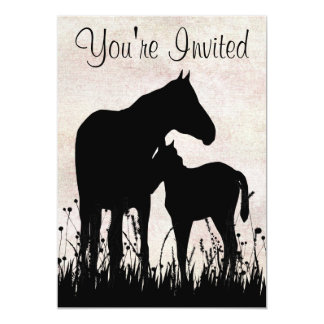 Silhouette Mare and Foal Horse Baby Shower Card
