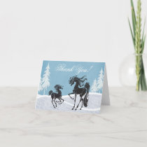 Silhouette Mare and Foal Winter Horse Thank You Card