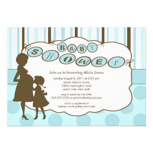 Personalized pregnant silhouette invitations custominvitations4u silhouette mom baby shower baby boy blue brown announcement filmwisefo