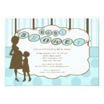 Silhouette Mom Baby Shower Baby Boy Blue Announcement