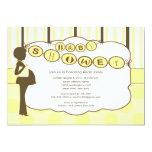 Silhouette Mom Baby Shower Boy Girl Yellow Brown Invitations
