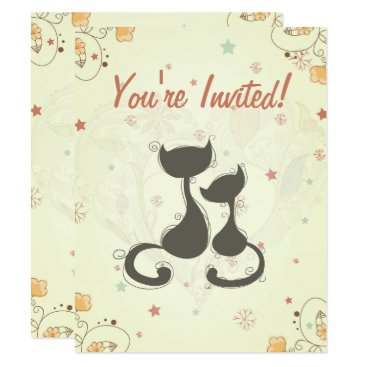 Toddler & Baby themed Silhouette Mom Cat and Kitten Baby Shower Invite