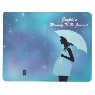 Silhouette Mommy To Be Blue Shower Umbrella Stars Journal