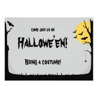 "Silhouette Moonlit Trees & Bats Halloween Invite 5"" X 7"" Invitation Card"