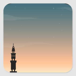 Silhouette mosque at twilight square sticker