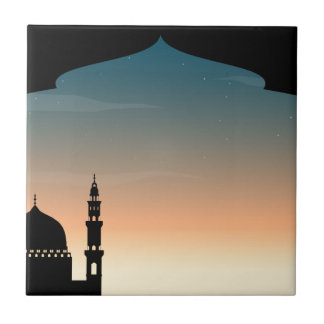 Silhouette mosque at twilight tile
