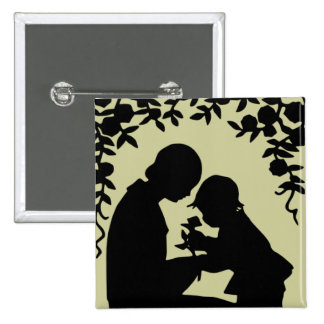 Silhouette Mother & Child Button