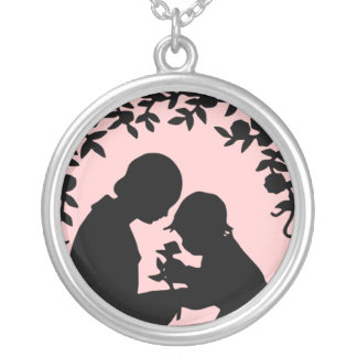 Silhouette Mother & Child Sterling Silver Necklace